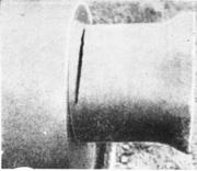 Трещина, возникшая от остаточных напряжений на цапфе вала