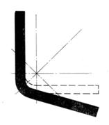 Поперечное сечение равнополочного уголка с отклонением от прямого угла (схема)