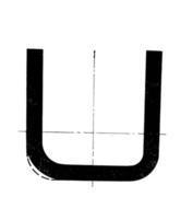 Поперечное сечение U-образного профиля с различными радиусами закруглений