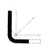 Поперечное сечение уголкового профиля с различной шириной полки